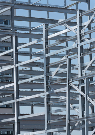 roof framework: Steel construction of an industrial building under construction