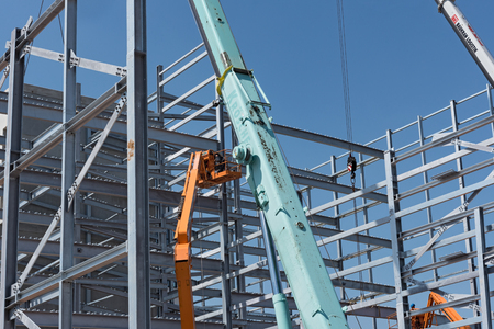 Steel construction of an industrial building under construction