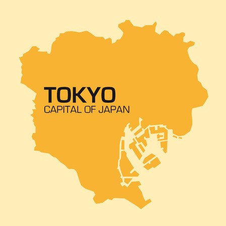 urbane: Simple outline map of the Japanese capital Tokyo