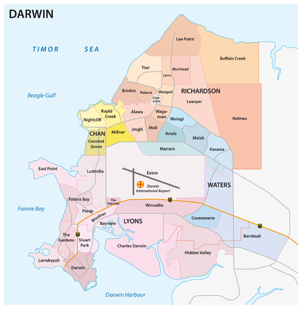 was: Darwin road, administrative and political map