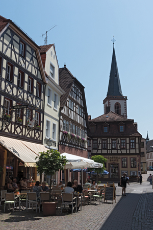 Pedestrian zone in the historic center of Lohr, Germany Editorial