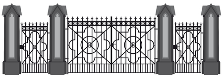 A illustration of a wrought iron gate