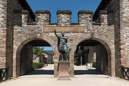 pius: Statue of Antoninus Pius in front of the main gate of the Roman fort Saalburg near Frankfurt, Germany Editorial
