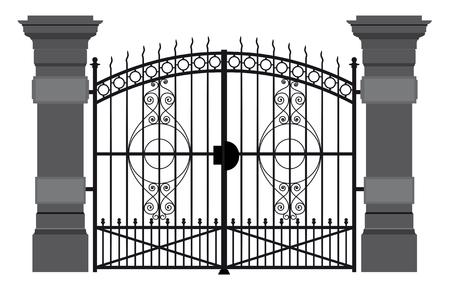 Een illustratie van een smeedijzeren hek Vector Illustratie