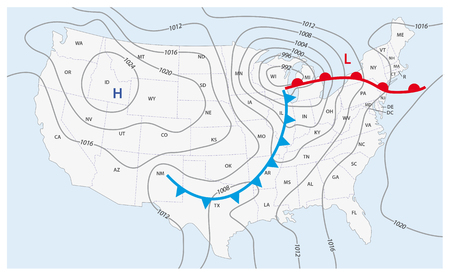 Imaginary weather map of the United States of America