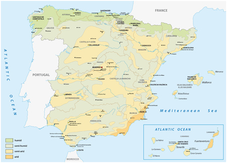 Map of wet and dry areas in spain