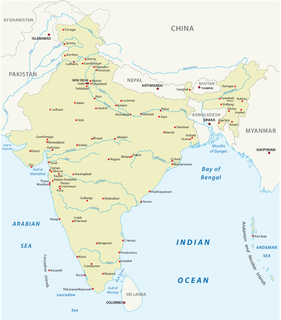 Republic of India vector map Illustration