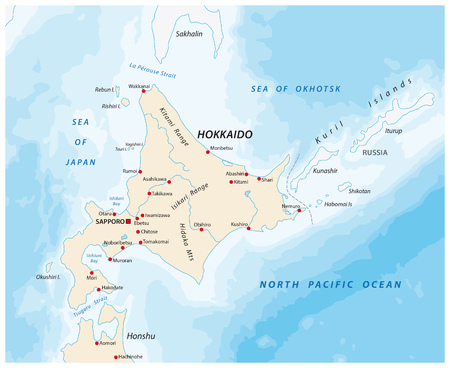 A map of the North Japanese island Hokkaido Illustration