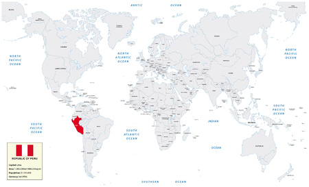 republic of peru: World map with the Republic of Peru, small information box and flag