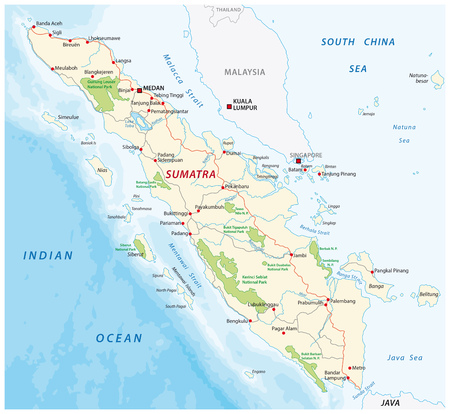 Road map of the indonesian island sumatra