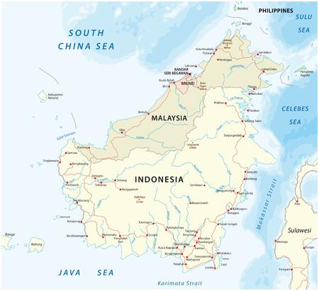 Vector road map of island Borneo, Kalimantan Ilustração