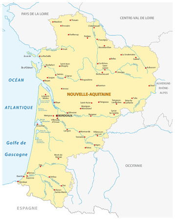 Map of the new French region Grand Est in French language Illustration