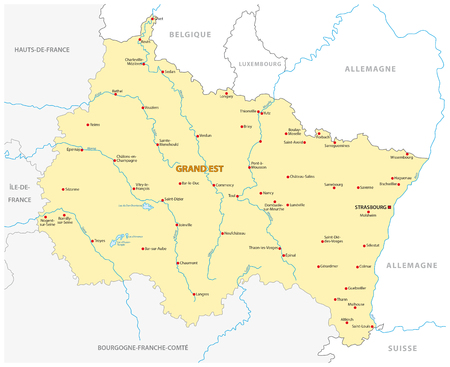 Map of the new French region Grand Est in French