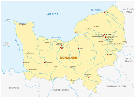 Map of the new French region of Normandy in French language