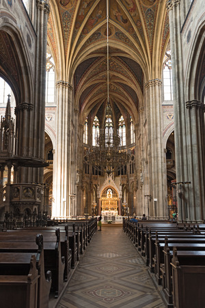 Interior view of the Votive Church in Vienna Editorial