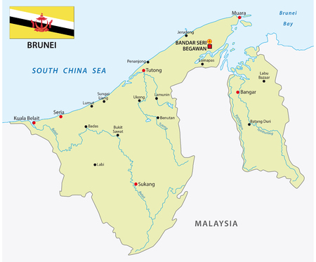 Nation of Brunei vector map with flag 일러스트
