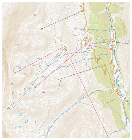 Imaginary topographic map of a winter sports area Illustration