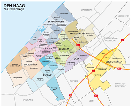 Administrative and political map of the Dutch city The Hague