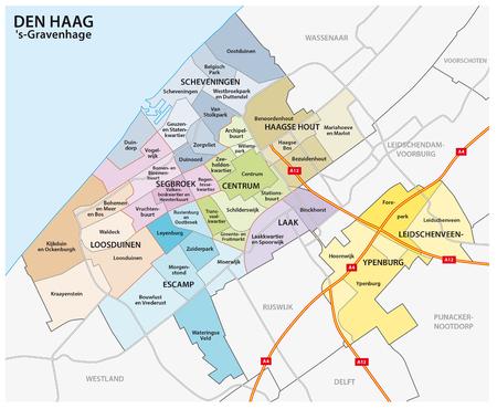 Mappa amministrativa e politica della città olandese L'Aia