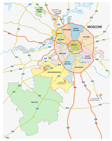 Administrative and political and road map of the Russian capital Moscow Çizim