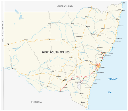 Road map of the Australian state New South Wales map
