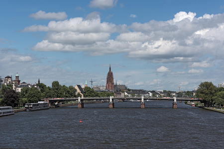 reviews: Beautiful view of Frankfurt, Germany with cathedral on the river side of Main, Hesse, Germany Stock Photo
