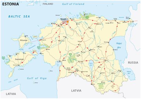 Latvia Road And National Park Map Royalty Free Cliparts Vectors