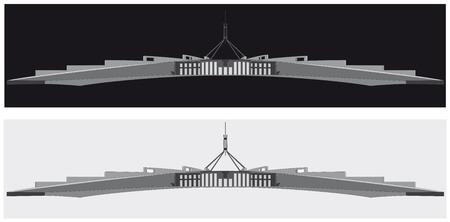 Een zwart-wit silhouet van het Australische parlementshuis, Canberra