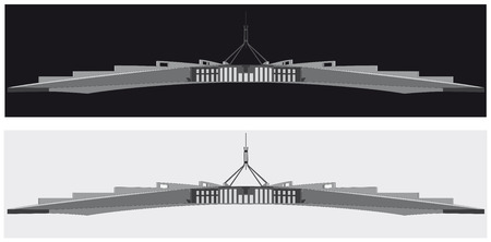 A black and white silhouette of the Australian parliament house, Canberra