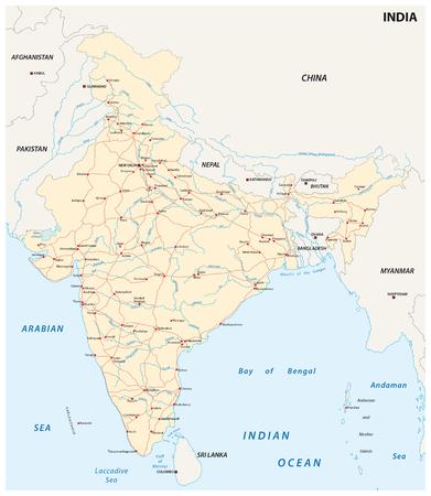 主要都市のインドの道路地図  イラスト・ベクター素材
