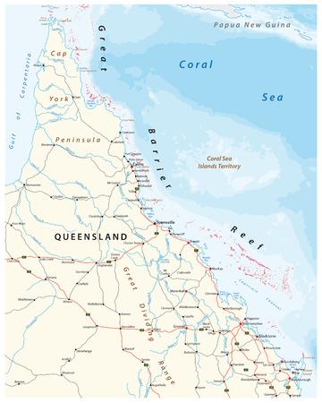 キャップの道路地図偉大なバリア ・ リーフのクイーンズランド州、オーストラリアのヨーク半島