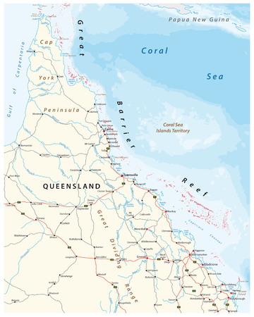 Road map of the cap york peninsula with the great barrier reef, Queensland, Australia Vectores