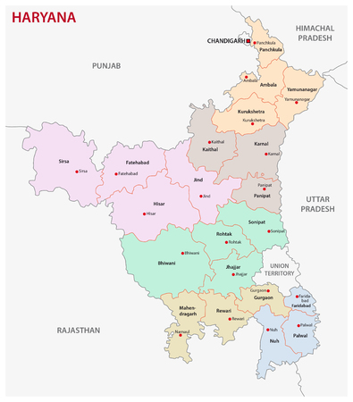 Haryana administrative and political map Illustration
