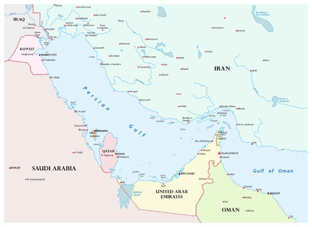 Map of the Persian Gulf and its neighboring countries