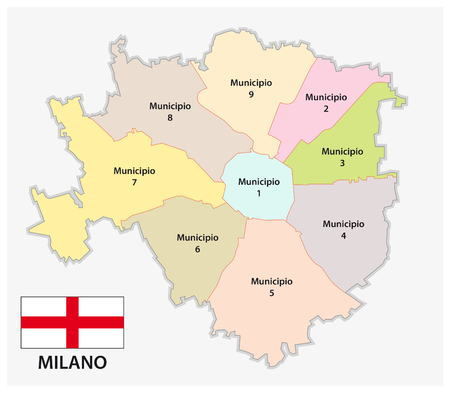 Administrative and political map of the Lombard capital Milan with flag Ilustração