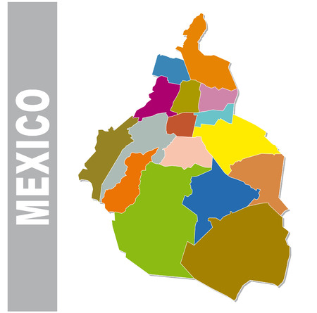urbane: Colorful Mexico administrative and political map