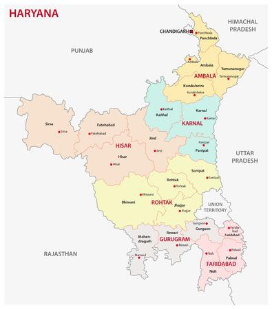 Haryana administrative and political map, India