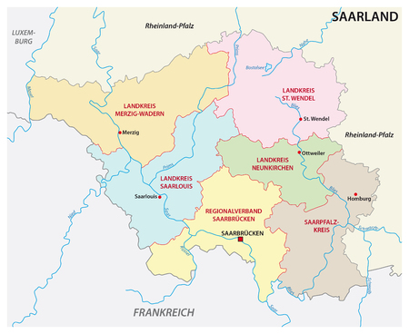 administrative and political map of the state of Saarland in german language Ilustração