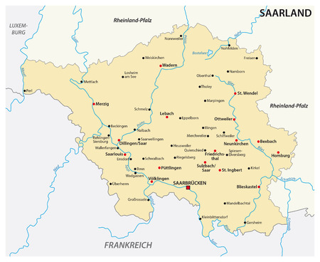 Map of the state of Germany with the most important cities in german language