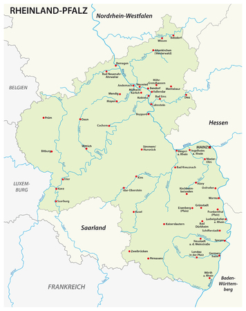 Map of the state of Rhineland-Palatinate map in english language