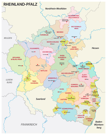 administrative and political map of the state of Rhineland-Palatinate in german language Çizim