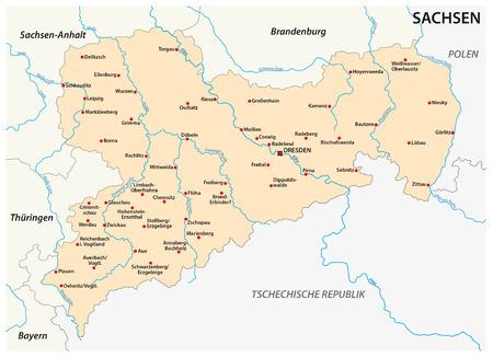Karte des Bundeslandes Sachsen mit den wichtigsten Städten in deutscher Sprache