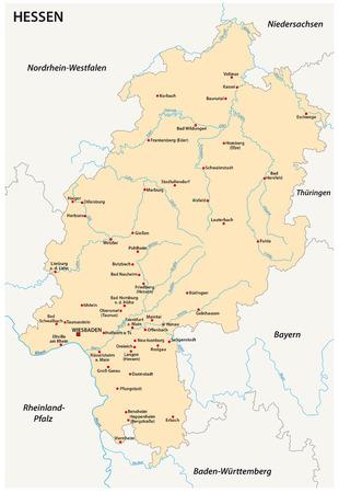 Hesse-State-Vektorkarte in englischer Sprache. Standard-Bild - 85172193