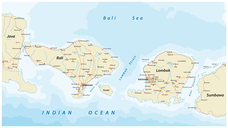 Vector road map of Indonesian Lesser Sunda Islands Bali and Lombok