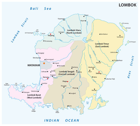 Lombok administrative and political map. Illustration