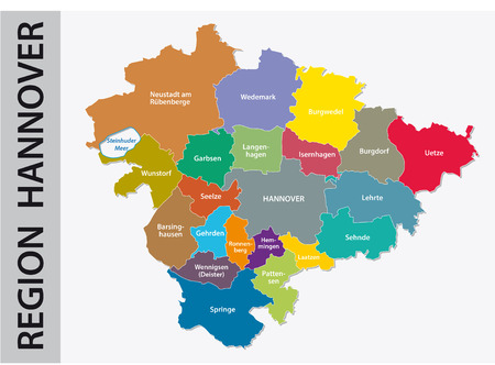 Administrative and political map of Hannover region in German language. Illustration