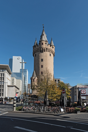 Eschersheimer tower (tower), former city gate in Frankfurt, Germany Editorial