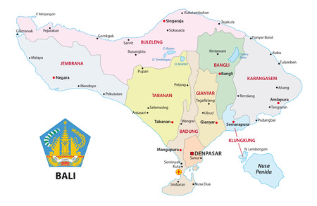 Bali administrative and political vector map with seal