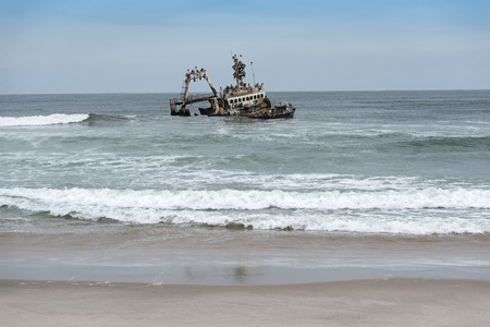Shipwreck Zeila near Henties Bay on the Skeleton Coast of Namibia Editorial