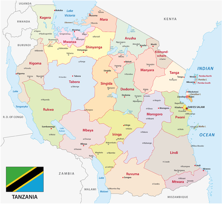 tanzania administrative and political vector map with flag